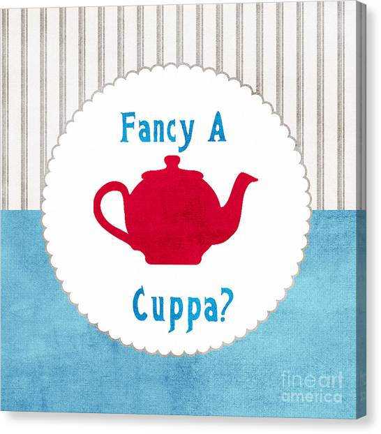 Tea Canvas Print - Red Teapot by Linda Woods