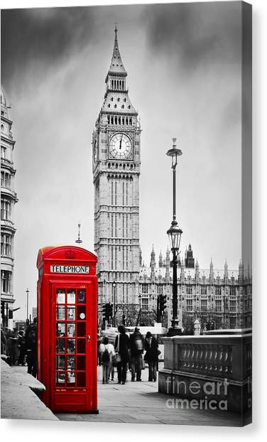 Red Telephone Booth And Big Ben In London Canvas Print