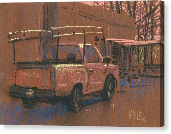 Toyota Canvas Print - Red Toyota W/rack by Donald Maier