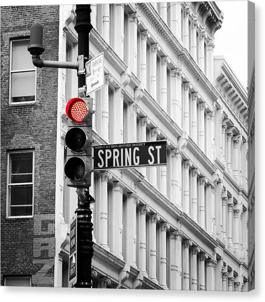 Stoplights Canvas Print - Red Traffic Light by Goncalo Carreira