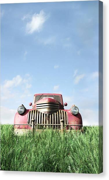 Classic Chevrolet Truck Canvas Print - Red Truck by Cynthia Decker