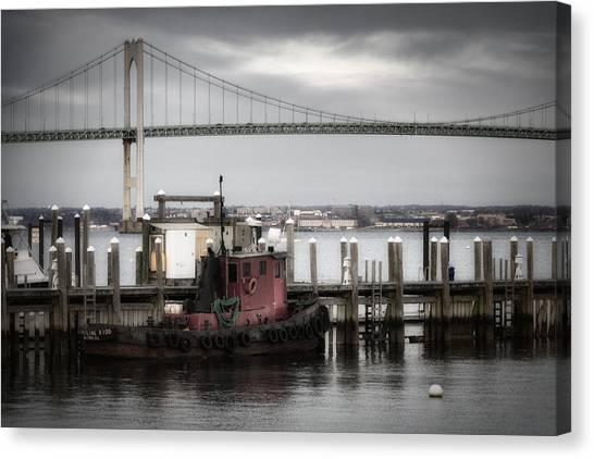 American Steel Canvas Print - Red Tugboat And Newport Bridge II by Joan Carroll