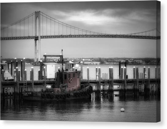 American Steel Canvas Print - Red Tugboat And Newport Bridge by Joan Carroll
