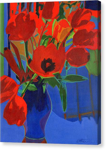 Red Tulips On Blue  Canvas Print