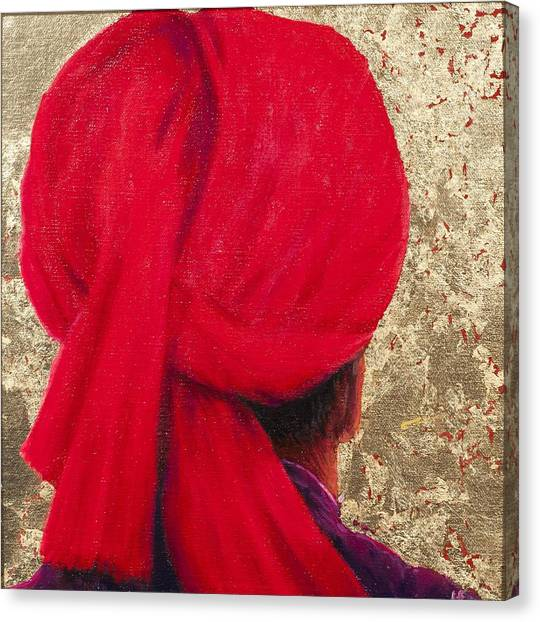 Head And Shoulders Canvas Print - Red Turban On Gold Leaf, 2014 Oil On Canvas With Gold Leaf by Lincoln Seligman