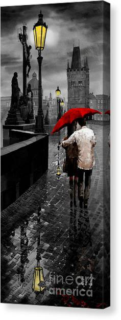 Mixed-media Canvas Print - Red Umbrella 2 by Yuriy Shevchuk