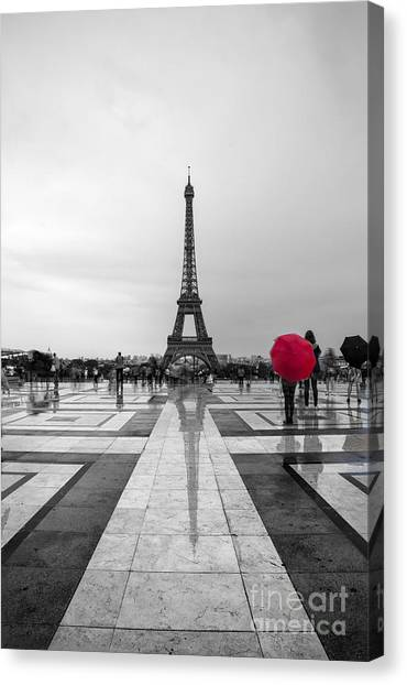 Eiffel Tower Canvas Print - Red Umbrella by Timothy Johnson
