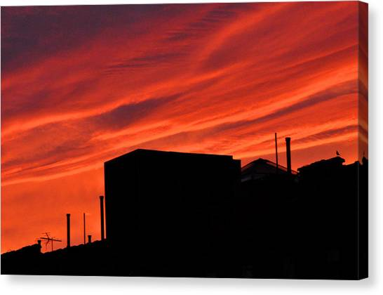 Red Urban Sky Canvas Print