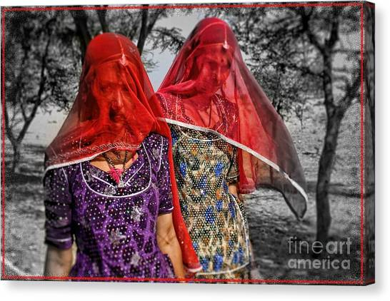 Red Veils In Rajasthan Canvas Print