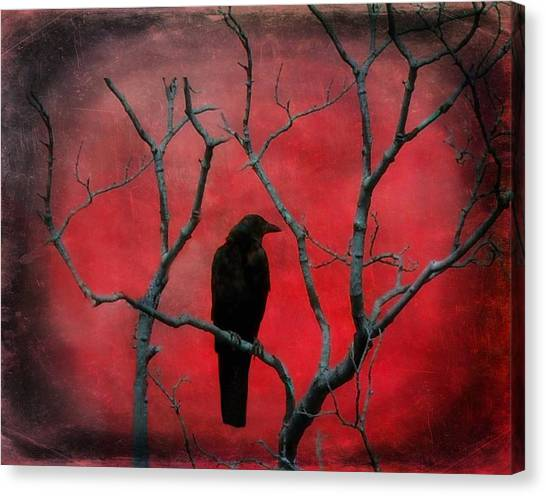 Blackbirds Canvas Print - Red Velvet by Gothicrow Images