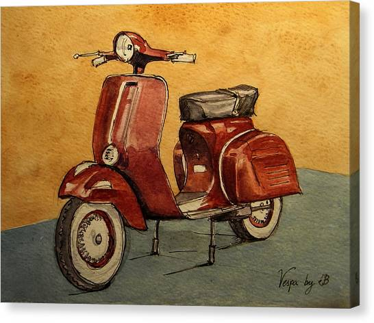 Motorcycle Canvas Print - Red Vespa by Juan  Bosco