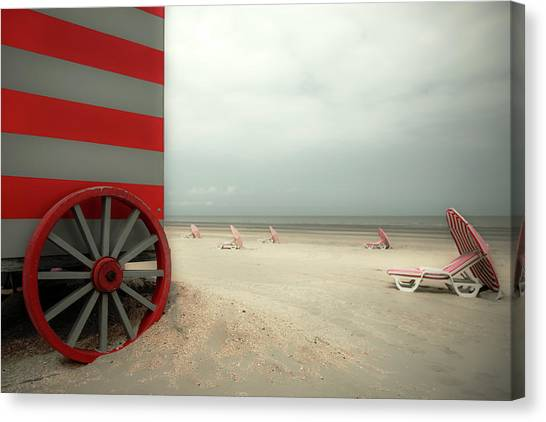 Umbrella Canvas Print - Red Wagon by Gilbert Claes