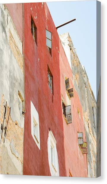 Rights Managed Images Canvas Print - Red Wall In Havana Cuba by Rob Huntley