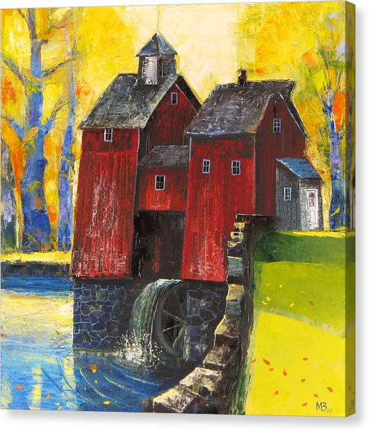 Red Watermill Canvas Print
