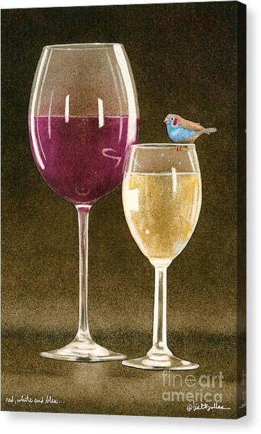 Finches Canvas Print - Red White And Bleu... by Will Bullas
