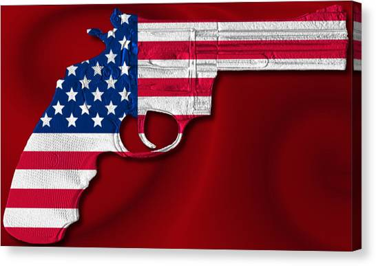 2nd Ammendment Canvas Print - Red White And Blue 357 by Ron Hedges