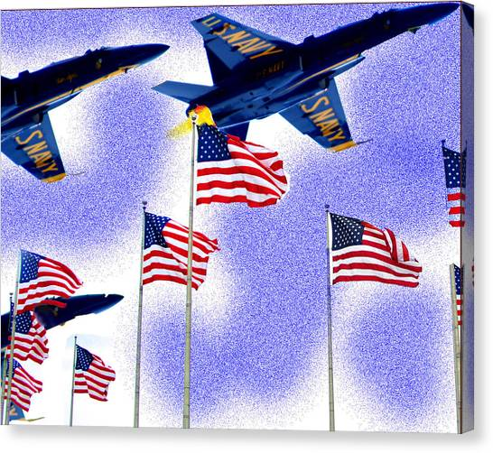 Red White And Blue Angels Canvas Print by Frank Savarese