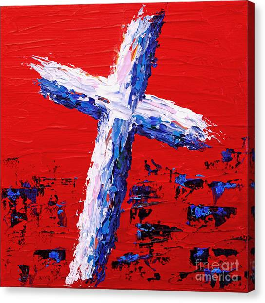 Red White And Blue Cross Canvas Print by Pattie Calfy
