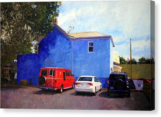 University Of Virginia Canvas Print - Red White And Blue Hoo Van by Edward Thomas
