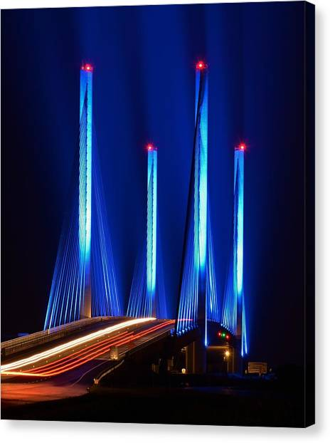 Indian River Inlet Bridge As Seen North Of Bethany Beach In This Award Winning Perspective Photo Canvas Print