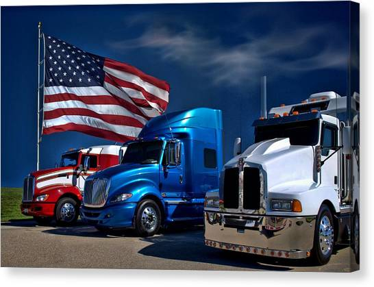 Red White And Blue Semi Trucks Canvas Print by Tim McCullough