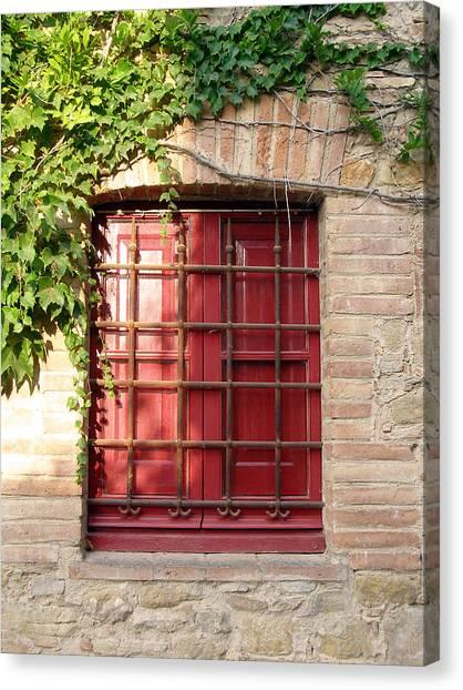 Red Window Canvas Print by Carolyn Waissman