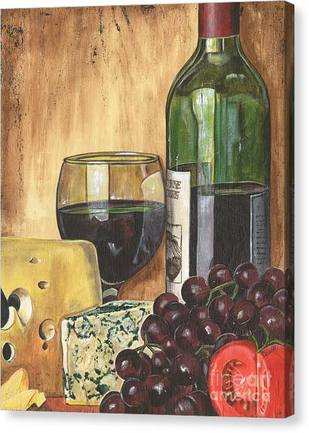 Market Canvas Print - Red Wine And Cheese by Debbie DeWitt