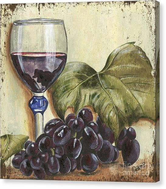 Red Wine Canvas Print - Red Wine And Grape Leaf by Debbie DeWitt