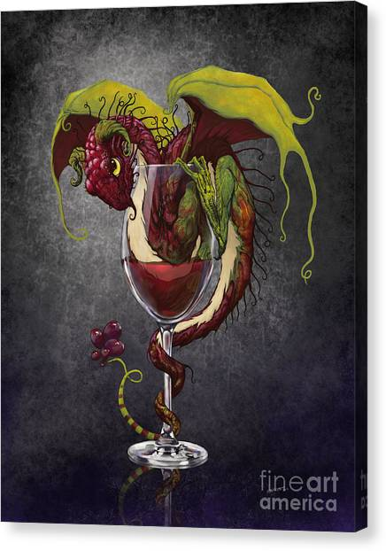Dragons Canvas Print - Red Wine Dragon by Stanley Morrison