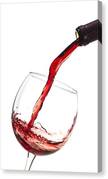 Pour Canvas Print - Red Wine Pouring Into Wineglass Splash by Dustin K Ryan