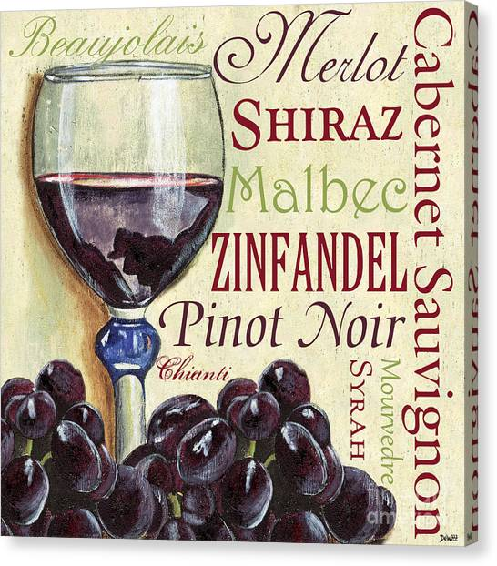 Pub Canvas Print - Red Wine Text by Debbie DeWitt