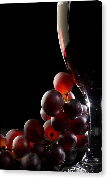 Red Wine Canvas Print - Red Wine With Grapes by Johan Swanepoel
