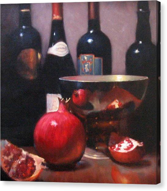 Red Wine With Pomegranates Canvas Print by Takayuki Harada
