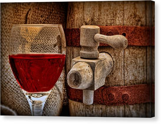 Keg Canvas Print - Red Wine With Tapped Keg by Tom Mc Nemar