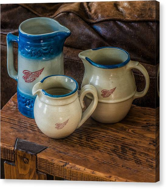 Crocks Canvas Print - Red Wing Pitchers by Paul Freidlund