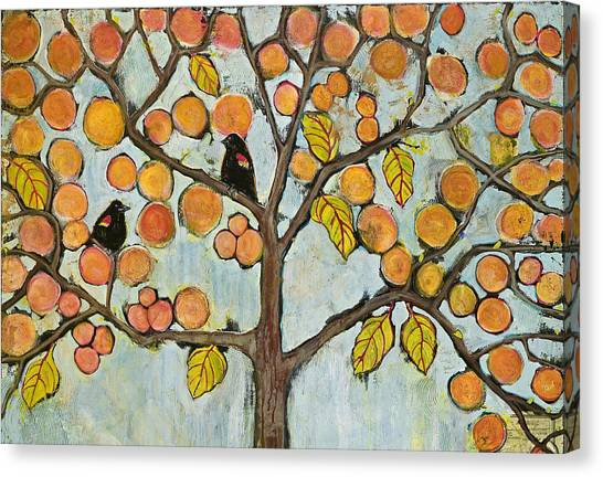 Blackbirds Canvas Print - Red Winged Black Birds In A Tree by Blenda Studio