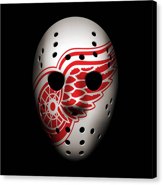 Detroit Red Wings Canvas Print - Red Wings Goalie Mask by Joe Hamilton