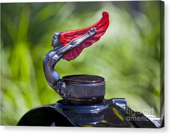 Red Wings Hood Ornament Canvas Print