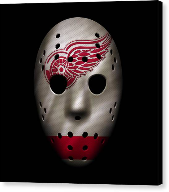 Detroit Red Wings Canvas Print - Red Wings Jersey Mask by Joe Hamilton