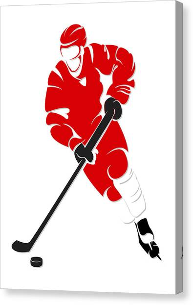 Detroit Red Wings Canvas Print - Red Wings Shadow Player by Joe Hamilton
