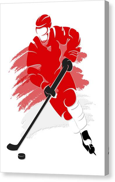 Detroit Red Wings Canvas Print - Red Wings Shadow Player2 by Joe Hamilton