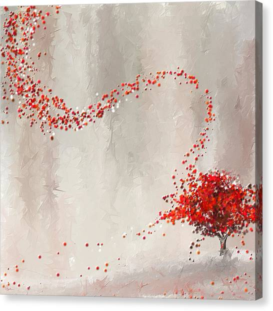 Maple Leaf Art Canvas Print - Red Winter by Lourry Legarde