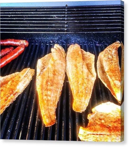 Fish Canvas Print - Redfish On The Grill Don't Hate!! by Scott Pellegrin