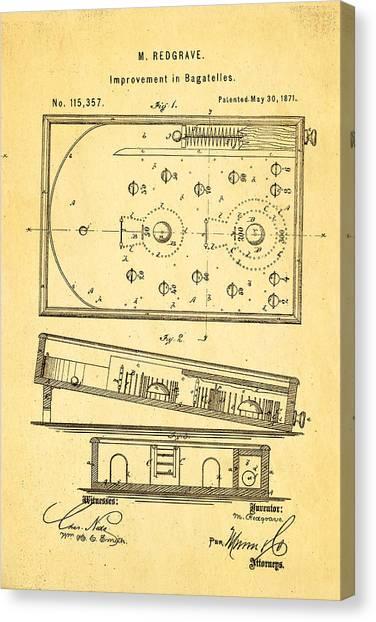 Flipper Canvas Print - Redgrave Bagatelle Patent Art 1871 by Ian Monk