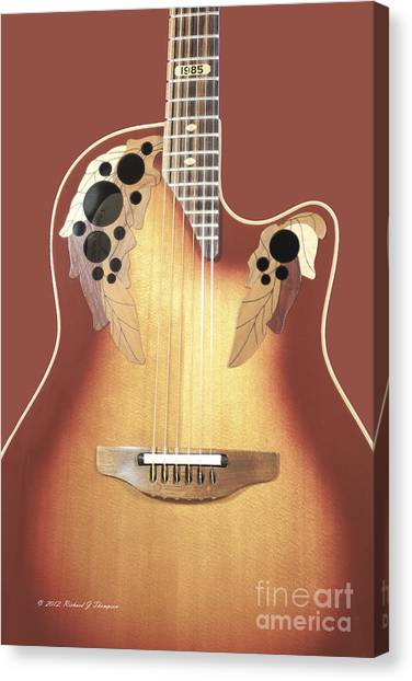 Redish-brown Guitar On Redish-brown Background Canvas Print