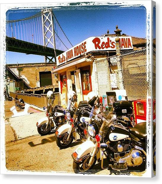 Hamburger Canvas Print - Reds Java House - Many Police by Lynn Friedman