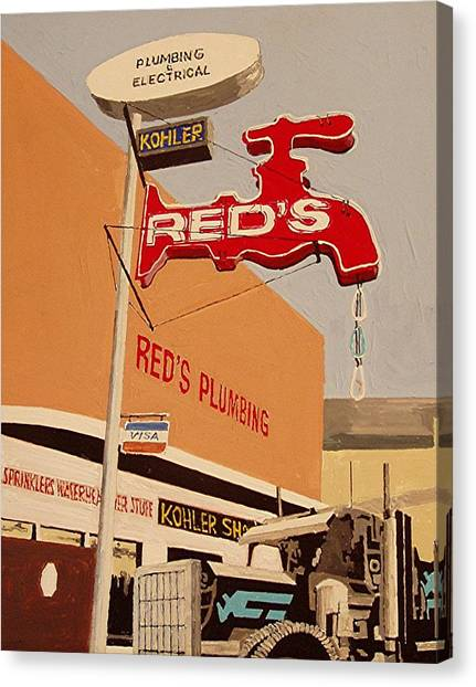 Reds Plumbing Canvas Print by Paul Guyer
