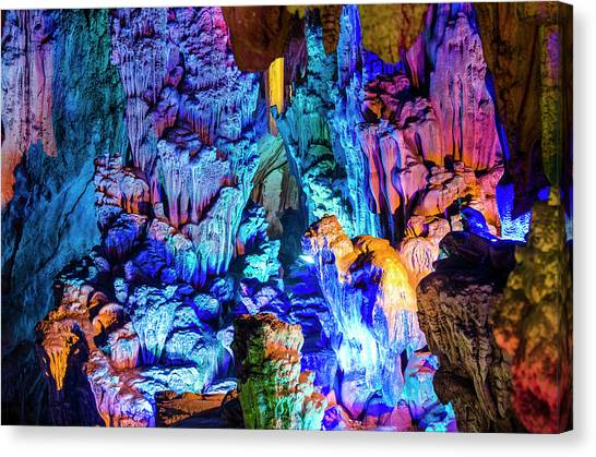 Stalactites Canvas Print - Reed Flute Cave Guilin, China by Michael Defreitas