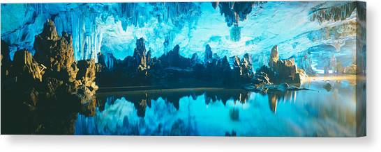 Stalagmites Canvas Print - Reed Flute Cave In Guilin, Guangxi by Panoramic Images