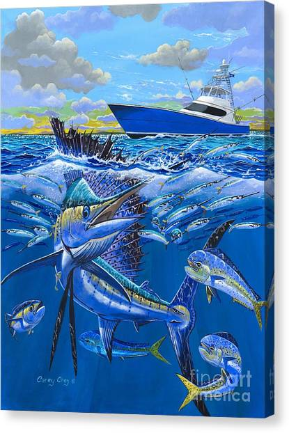 Fishing Boats Canvas Print - Reef Sail Off00151 by Carey Chen